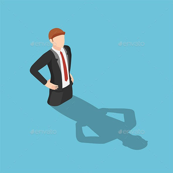 Isometric Businessman Drowning in His Shadow