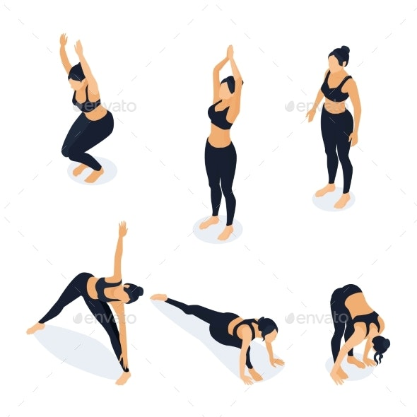 Isometric Woman in Yoga Positions Isolated - Sports/Activity Conceptual