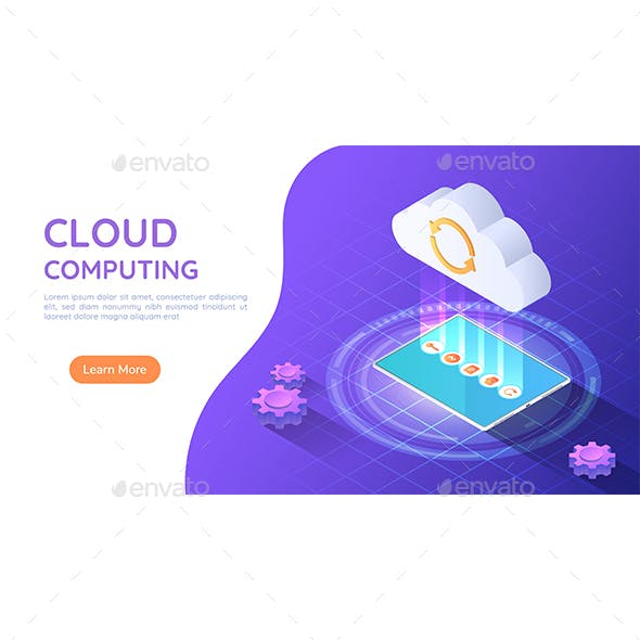 Isometric Web Banner Tablet PC Uploading File to Cloud