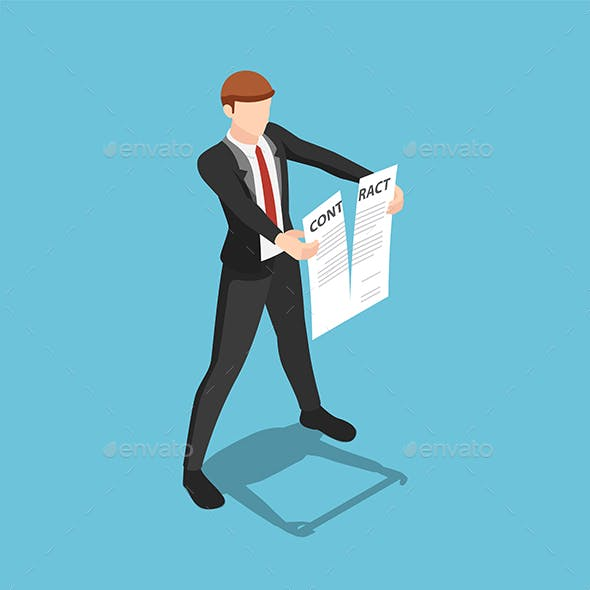 Isometric Businessman Tearing Apart Contract Document