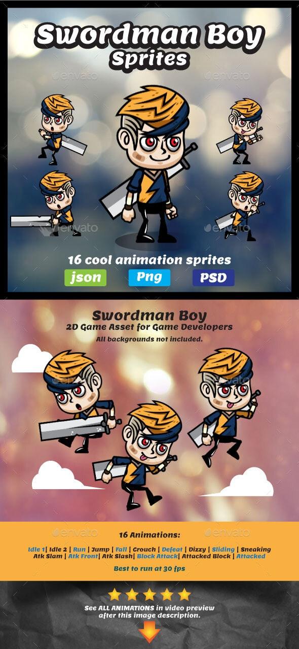 Swordman Boy Game Asset Sprites - Sprites Game Assets