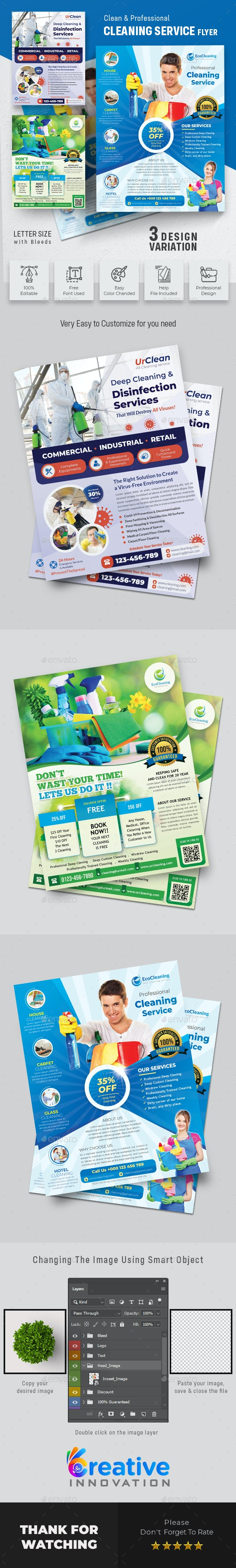 Disinfecting and Cleaning Services Flyer - Commerce Flyers