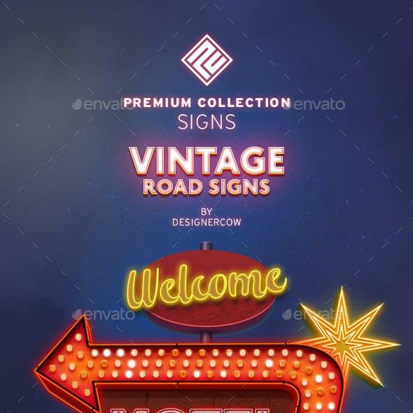 Vintage Neon Road Signs - Premium Collection