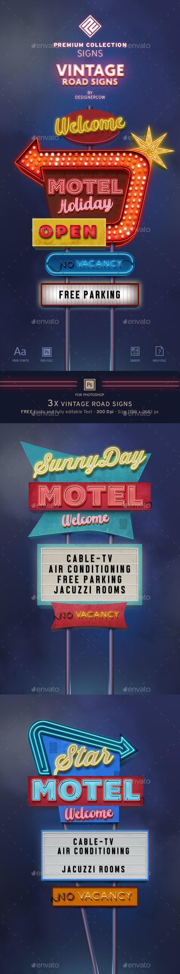 Vintage Neon Road Signs - Premium Collection - Miscellaneous Graphics