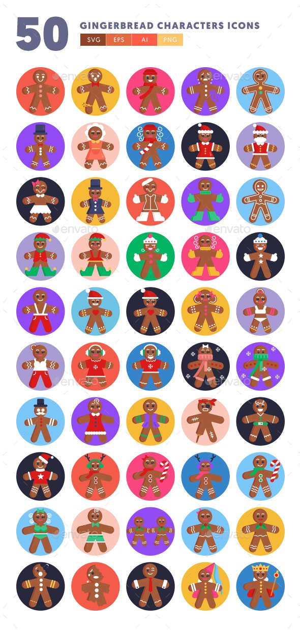 50 Gingerbread Characters Icons - Icons