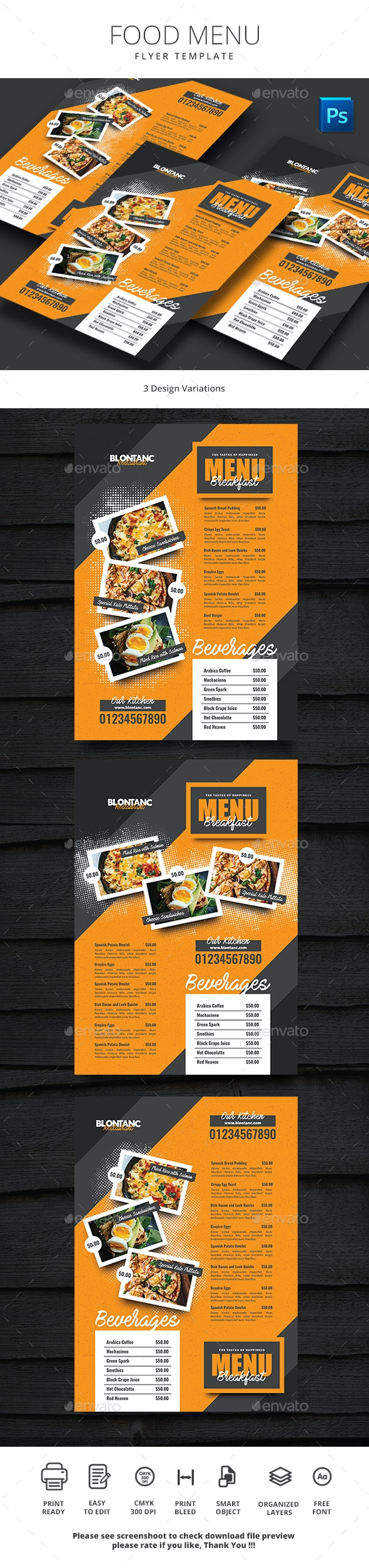 Food Menu 9 - Food Menus Print Templates
