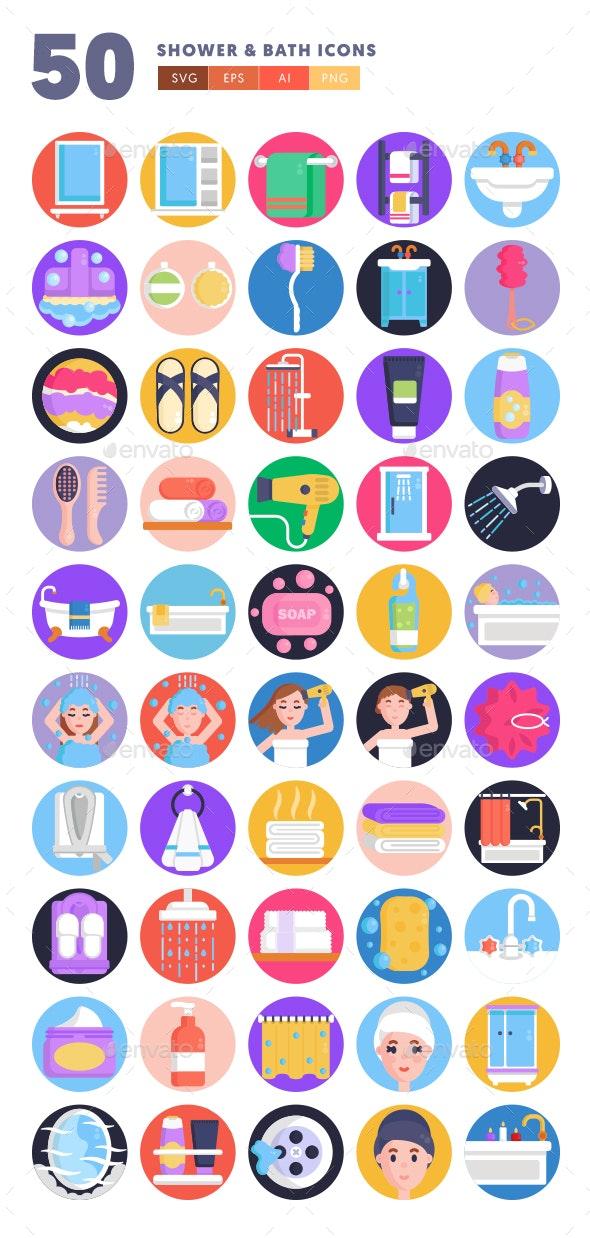 50 Shower & Bath Icons - Icons