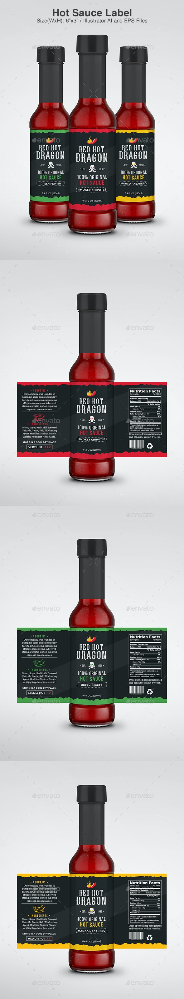 Hot Sauce Label - Packaging Print Templates