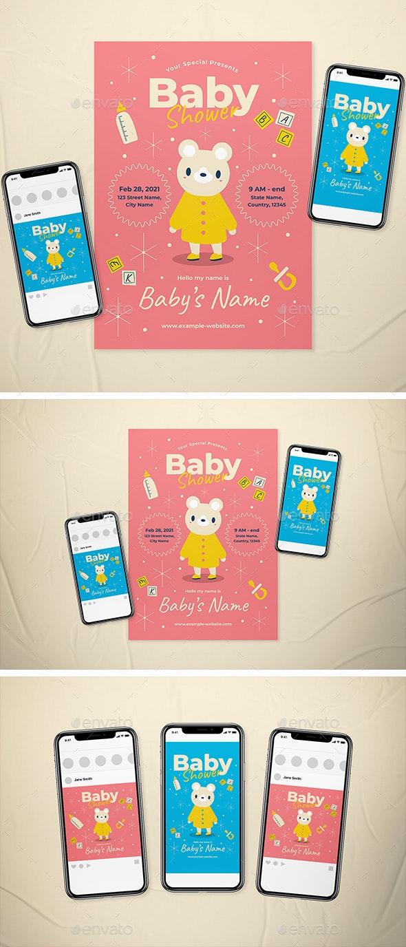 Baby Shower Invitation Flyer Set - Invitations Cards & Invites