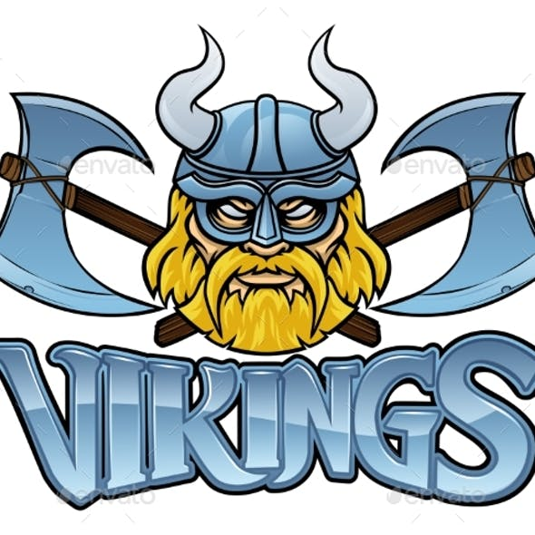 Viking Crossed Axes Mascot Warrior Sign Graphic