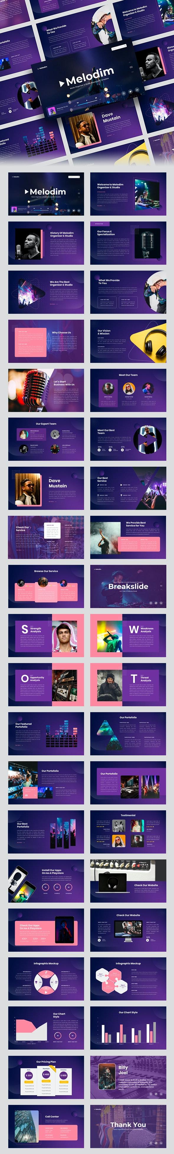 Melodim – Music Organizer & Studio PowerPoint Template - Creative PowerPoint Templates