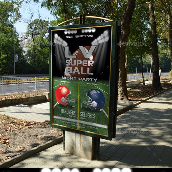 Football Game Super Bowl Poster Template 09