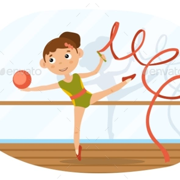 Agile Young Girl Doing Rhythmic Gymnastics