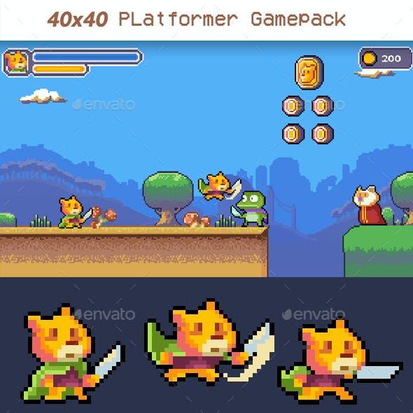40x40 BEAR Platformer Gamepack (Spritesheet + Tileset)