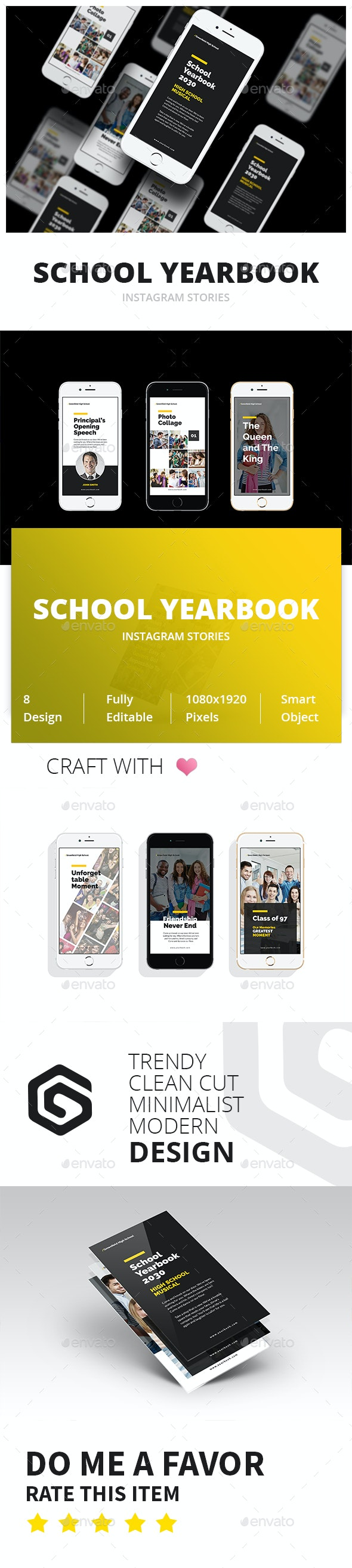 School Yearbook Instagram Stories - Social Media Web Elements