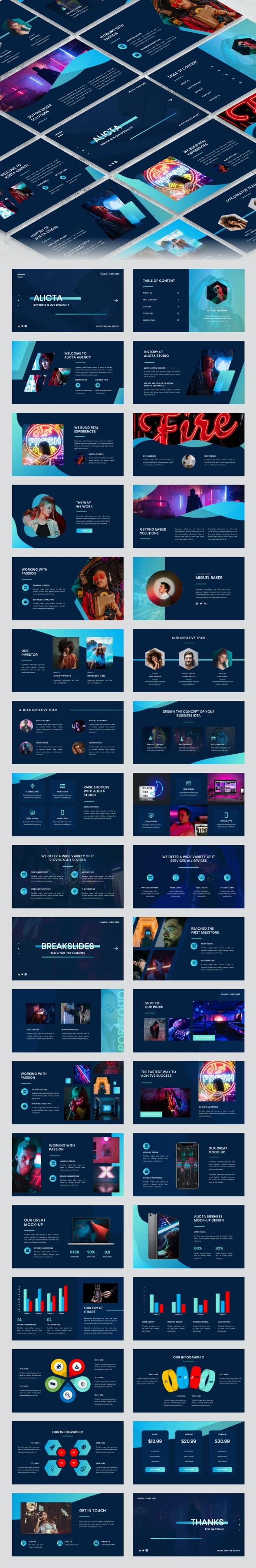 Alicta - Creative Agency PowerPoint Template - Creative PowerPoint Templates