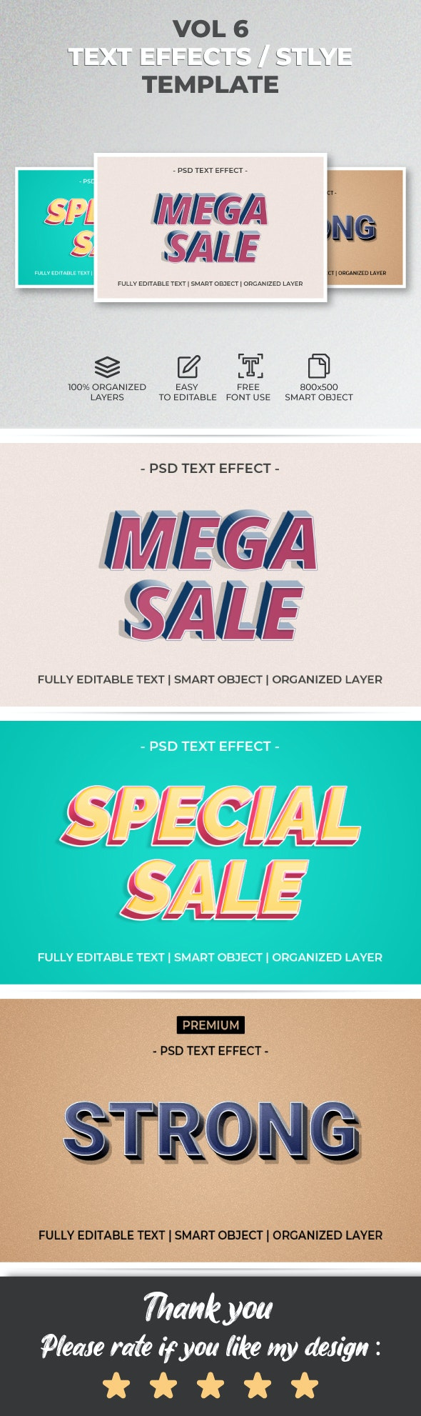 Text Effect Style Template Style Vol.6 - Text Effects Actions