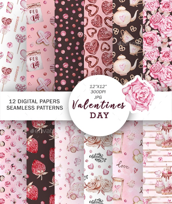 Watercolor Valentines Seamless Pattern - Patterns Backgrounds