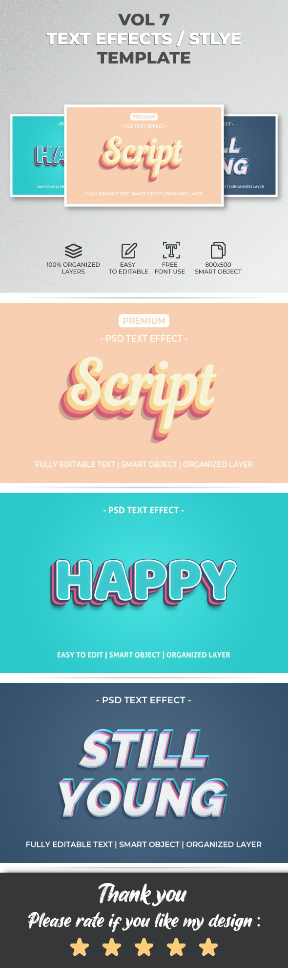 Text Effect Style Template Style Vol.7 - Text Effects Actions