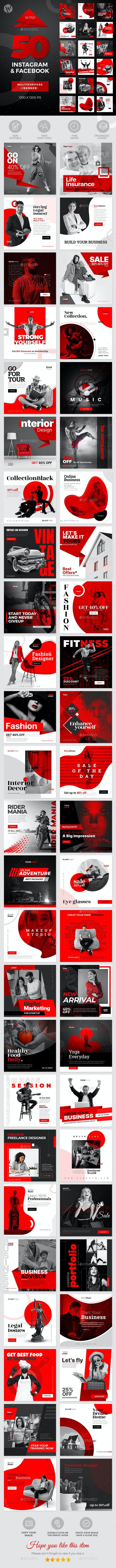 50 Instagram & Facebook Banners - Social Media Web Elements
