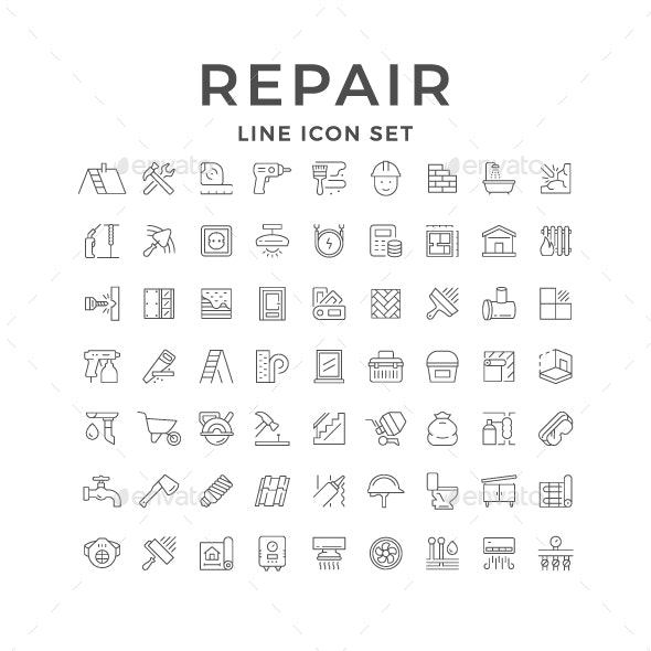 Set Line Icons of House Repair - Man-made objects Objects