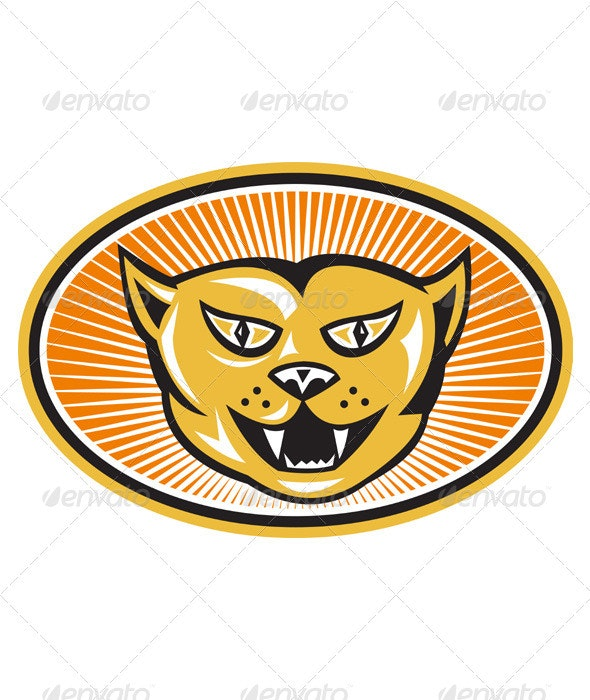 Angry Cat Head Front Retro - Animals Characters