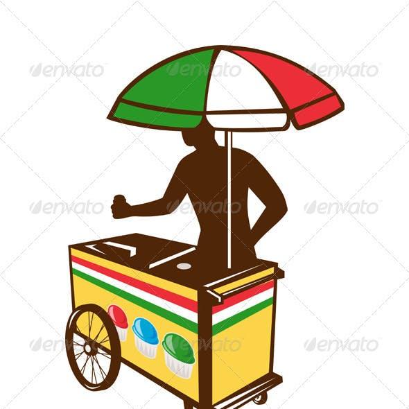 Italian Ice Push Cart Retro