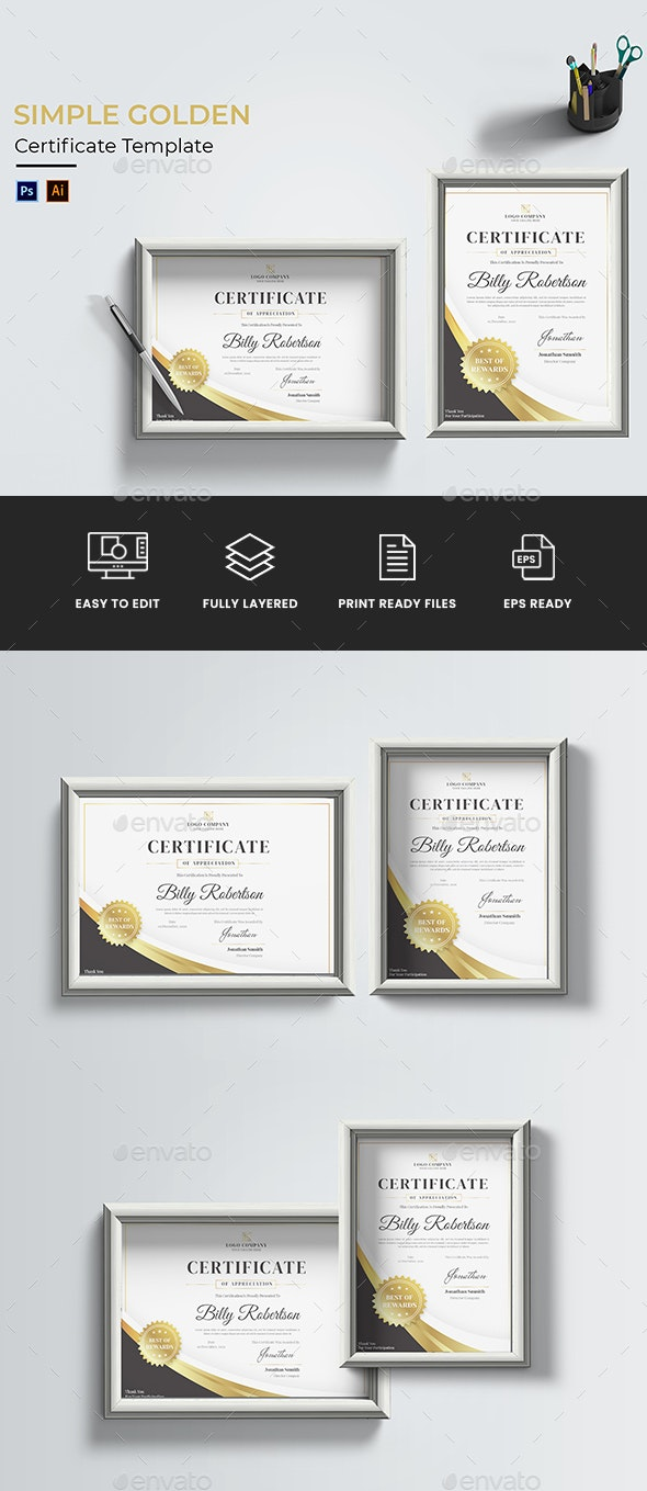 Simple Golden Certificate - Certificates Stationery