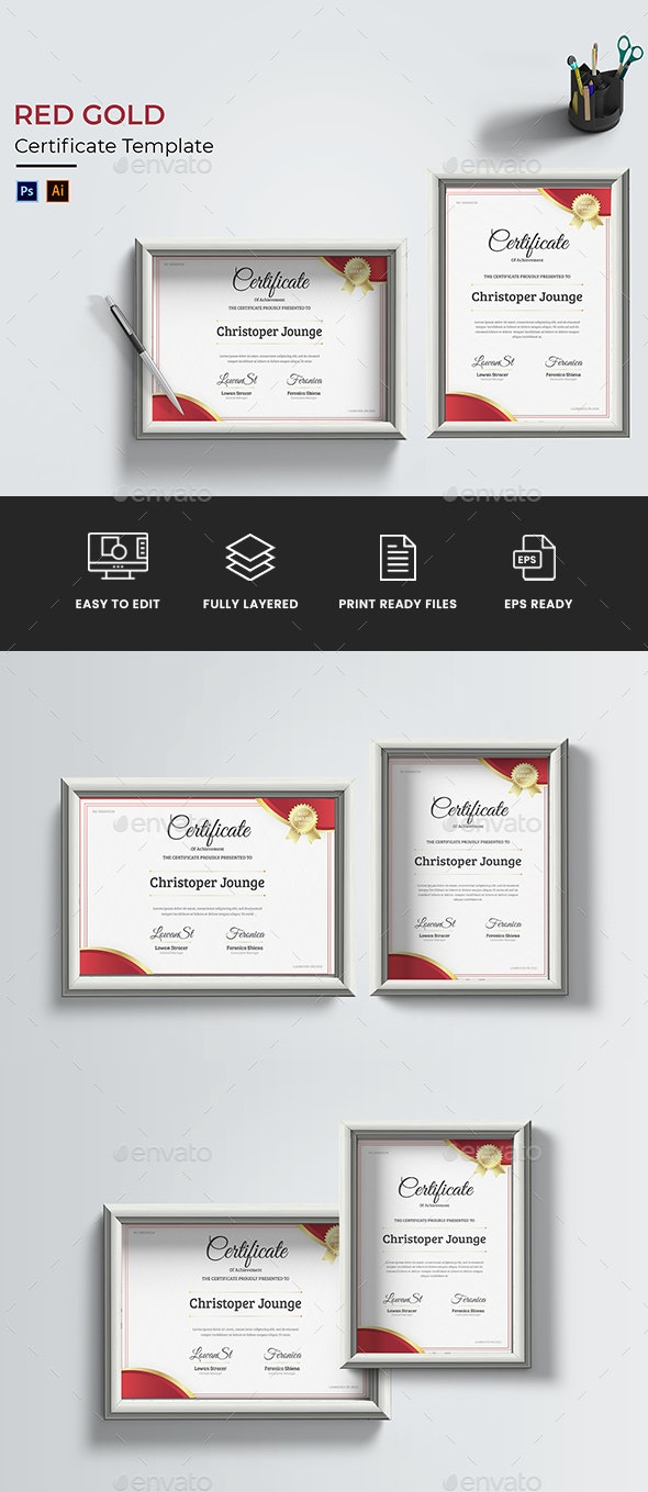 Red Gold Certificate - Certificates Stationery