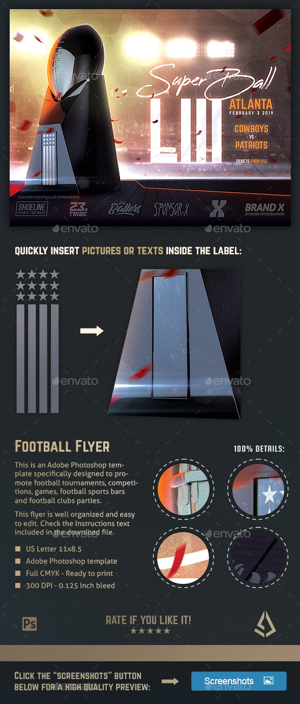 Football Super Ball Flyer American Football Poster Template - Sports Events
