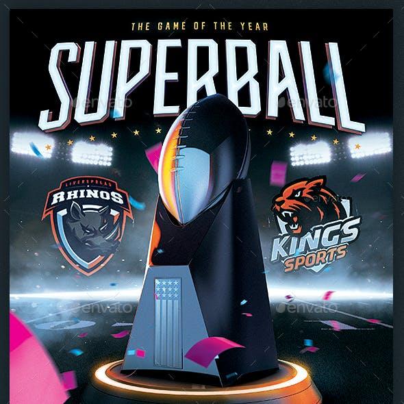 Football Superball Flyer American Football Match Poster Template
