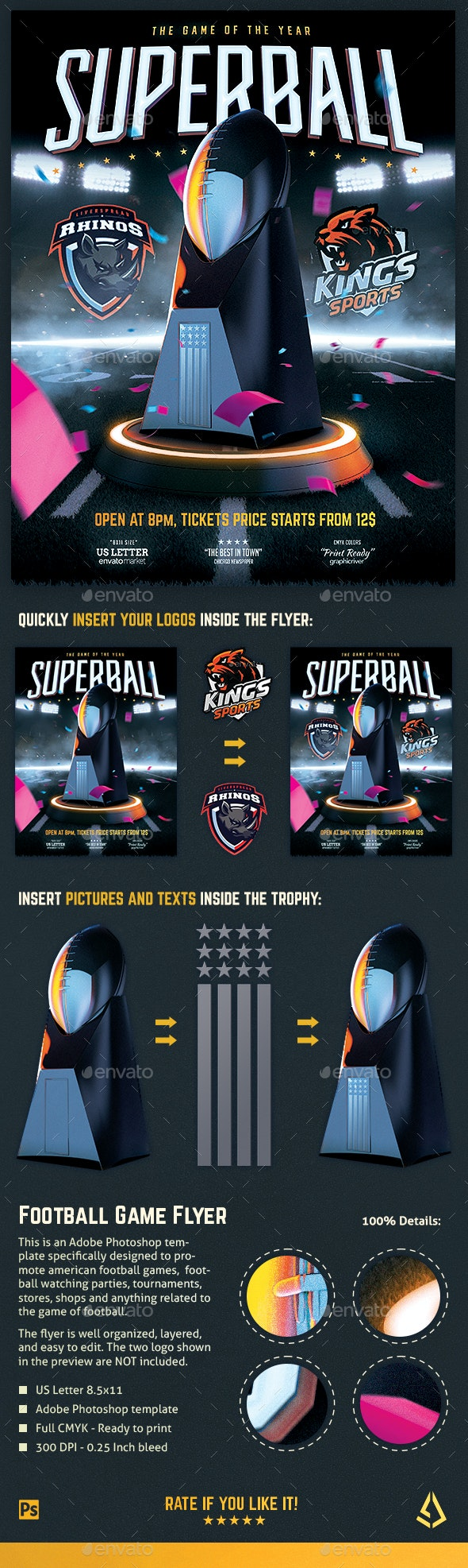 Football Superball Flyer American Football Match Poster Template - Sports Events