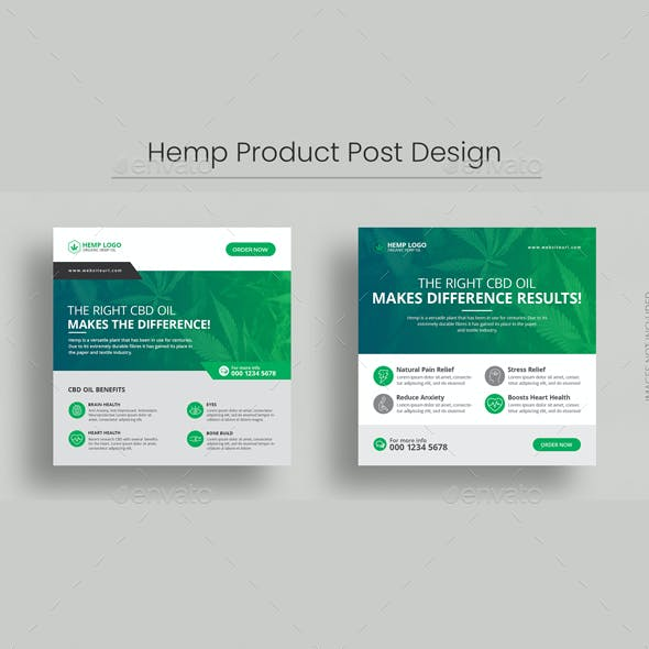 Hemp Product Social Media Post Banner Template