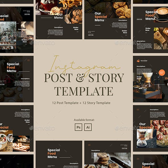 Minimalist Restaurant Instagram Post and Story Template