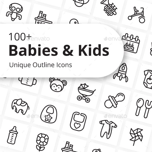 Babies and Kids Unique Outline Icons