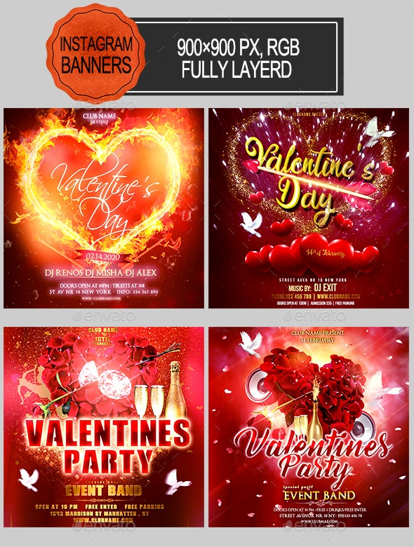 Valentines Day Instagram Banners - Banners & Ads Web Elements
