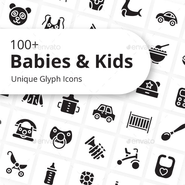 Babies and Kids Unique Glyph Icons