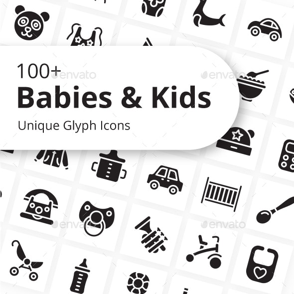 Babies and Kids Unique Glyph Icons - Miscellaneous Characters