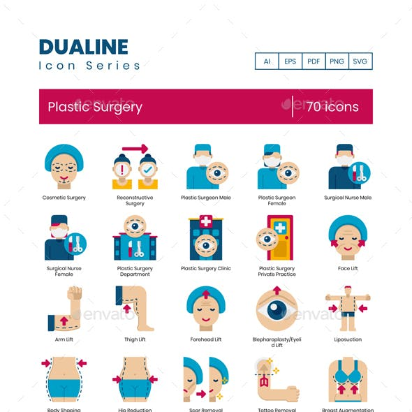 70 Plastic Surgery Icons | Dualine Flat Series