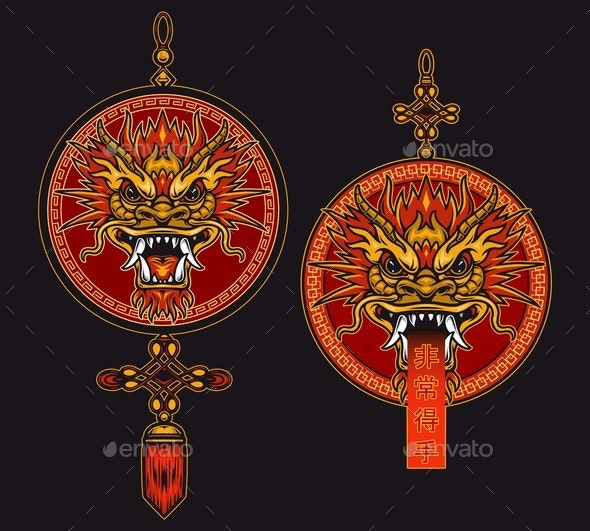 Chinese Traditional Red Lucky Pendants - Miscellaneous Vectors