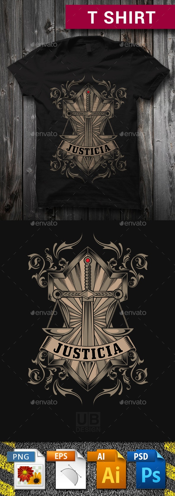 Justicia T-Shirt Graphic Design - Business T-Shirts