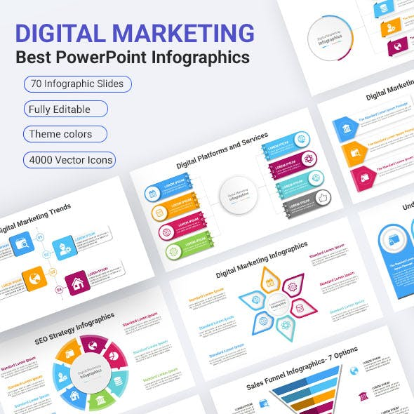 Digital Marketing Infographics Solutions PowerPoint Diagrams Template