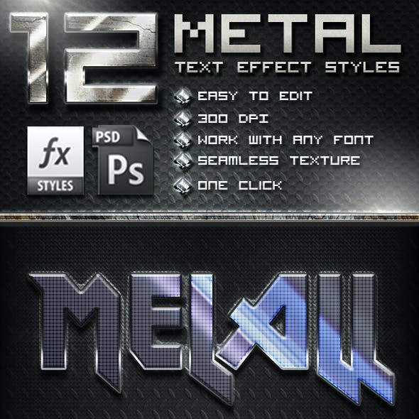 12 Metal Text effect