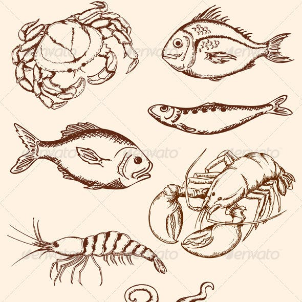 Hand Drawn Seafood Icons