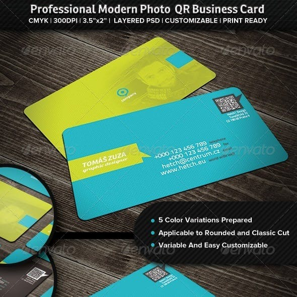 Professional Modern Photo QR Business Card