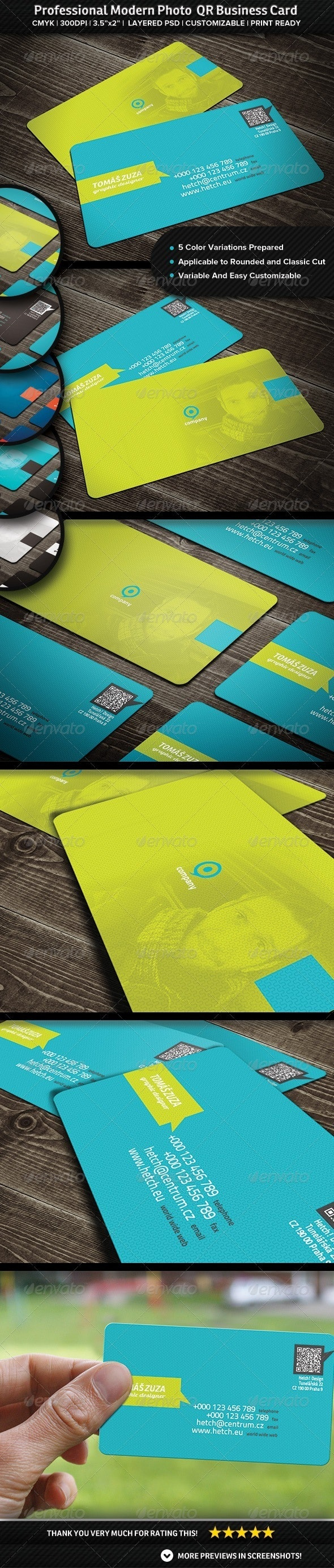 Professional Modern Photo QR Business Card - Creative Business Cards