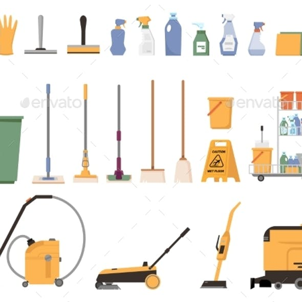 Washing and Cleaning Equipment Isolated Icons Set