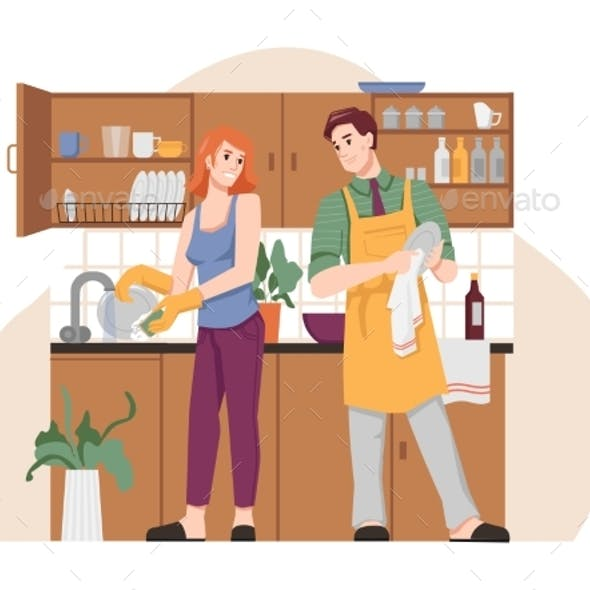 Man and Woman Washing and Drying Dishes in Kitchen