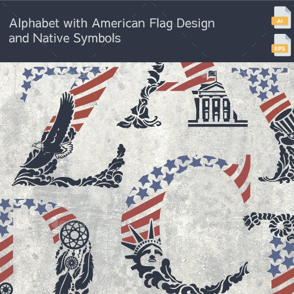 Alphabet with American Flag Design and Native Symbols