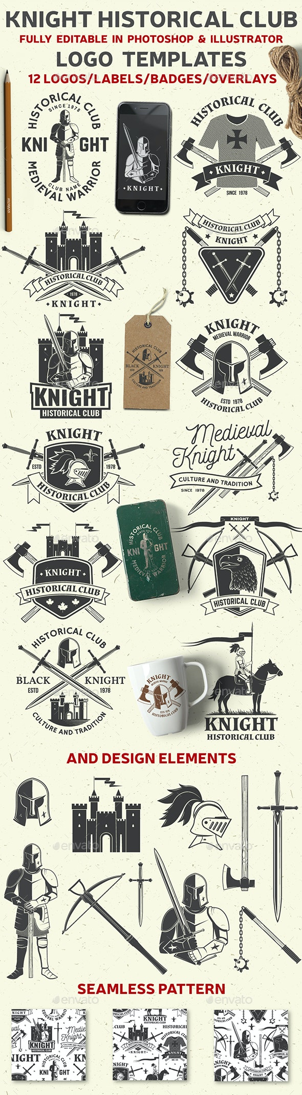 Knight Historical Club - Badges & Stickers Web Elements